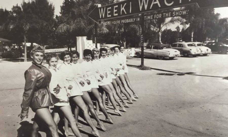 Black And White Photo Of Weeki Waachee Mermaids Before Show
