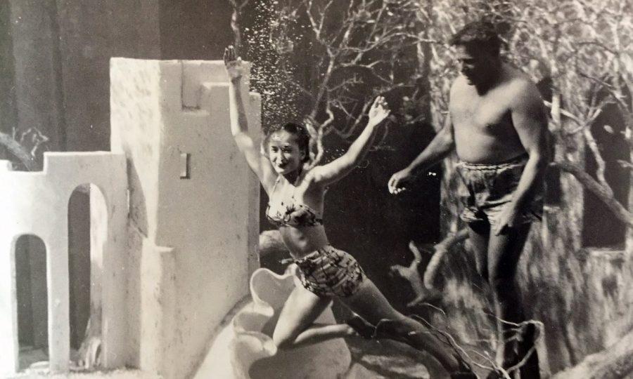 black and white photo of mermaid show